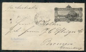 HAWAII #U5 10¢ black, entire, used 1888 to Germany, transit and arrival cancels