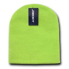 Neon Green Ski Beanie Hat Skull Snowboard Winter Warm Knit Hats Cuffless Beanies
