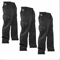 """New Mens Cargo Combat Work Trousers Pants Size 32"""" to 40"""" Black & Navy 32"""" Leg"""
