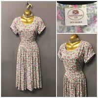 Vintage Nightingales White Floral Pleated Retro Dress UK 10 EUR 38 US 8