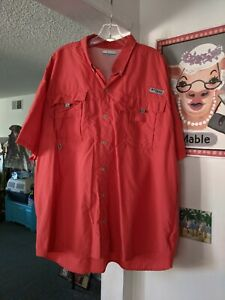 COLUMBIA PFG OMNI-SHADE Men's S/S VENTED 100% Nylon Button Down Shirt Coral 2XT