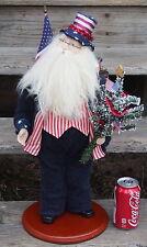 "Patriotic USA Flag Santa Claus 21"" Tall Figure on Wood Base Christmas Decor"
