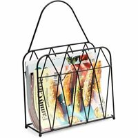Juvale Wall Mounted Magazine Rack - Hanging Mail and Document Organizer, Black