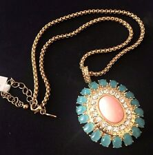 "Exotic Peach Coral Aqua Clear Crystal Goldtone Medallion Pendant Necklace 18""L"