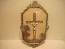 BB ANTIQUE RELIGIOUS BUBBLE GLASS METAL FRAME  CRUSSIFIX CROSS JESUS DECORATIVE