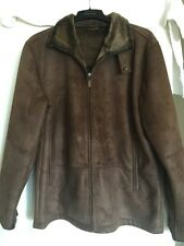 Suede Coat Brown Jacket Leather Men Mens Size Large Faux L Lined Vintage Sz Men