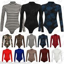 Women's Ladies Polo Turtle Neck Camo, Plain, Leopard Printed Bodysuit Leotard