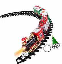 Kids Toy Train Set w/ Lights and amp; Sounds Electric Railway Battery Christmas