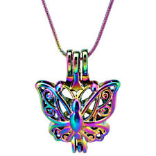"22"" Rainbow Color Snake Chain Pick a Pearl Butterfly Cage Locket (S-PC-701)"