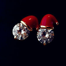 1 Pair Charm Jewelry Crystal Santa Hat Christmas Earrings Novelty Stud Earrings