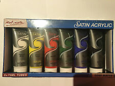 6pc Mont Marte Artist Acrylic Paint Set Art Supply White Black Red Blue Yeollow