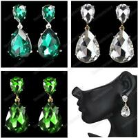 CLIP ON big GLASS CRYSTAL DROP teardrop EARRINGS screw GREEN/AQUA/SILVER/GOLD