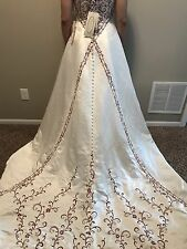 Alfred Angelo Women's Wedding Dress Gown Style 1783 White w/ Red Train Strapless