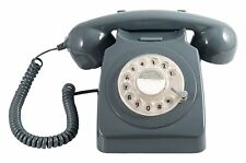 Retro Corded Telephone Landline GPO 746 Phone with Working Rotary Dial - Grey