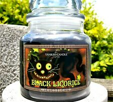 "Yankee Candle Halloween ""BLACK LICORICE""GLOW IN THE DARK~Medium 14.5oz~RARE~ NEW"