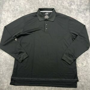Adidas Polo Shirt Mens Large Gray Long Sleeve Golf Stretch Collared Climacool