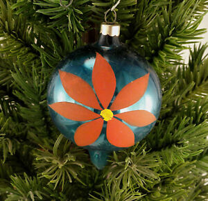 USA Pointed Ball Glass Christmas Ornament Medium Blue W Red Flower HP Vintage