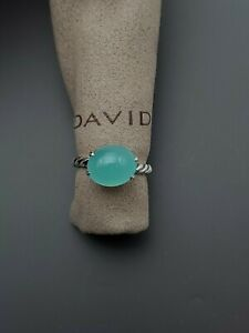David Yurman 12x10mm Oval Green Tourmaline Silver Stack Ring Size 7