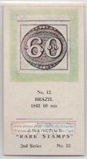 Vintage Trade Ad Card 1843 Brazil 60 Reis Bulls Eye Postage Stamp