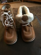 Ladies Kicker Boots Tan With Pink Stitching Size 38