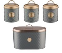 Typhoon Living Tea Coffee Sugar and Bread Bin Storage Tins - Grey / Copper