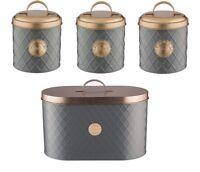 Typhoon Living Tea Coffee Sugar and Bread Bin Storage Tins - Grey / Copper