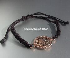 Original Traumfänger - Armband * Textil schwarz * Blume * Stahl rosè