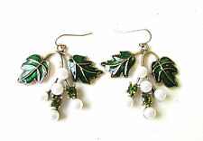 Art Deco Nouveau Ivy Leaf Pearl Green Bronze White Drop Earrings Gold Vtg 1628