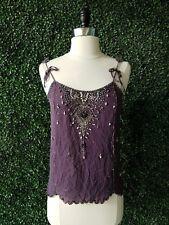 Matthew Williamson Purple Silk Jeweled Crystal Heart Embellished Top Blouse S