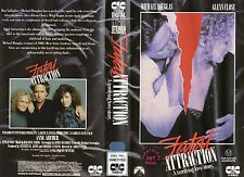 FATAL ATTRACTION - Michael Douglas & Glenn Close -VHS -PAL -NEW - Never played!!