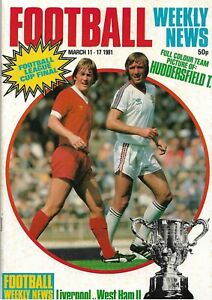 Liverpool v West Ham United 1981 League Cup Final Magazine Huddersfield Town
