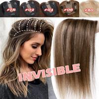 Women's Clip In Hairpiece Wigs Mono Silk Base Topper 100% Remy Human Hair Toupee