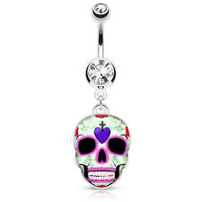 1 Pc Purple Sugar Skull Surgical Steel Dangle Navel Belly Button Ring 14g