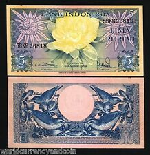 INDONESIA 5 RUPIAH P65 1959 *BUNDLE* SUN BIRD FLOWER UNC CURRENCY NOTE 100 BILL