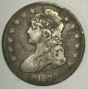 1836 Lettered Edge O-114 R-2 Fine F Capped Bust Silver US Half Dollar 50C