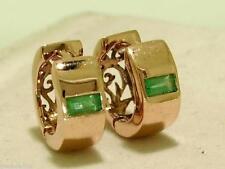 E005- Genuine 9K 9ct ROSE Gold NATURAL Emerald HUGGIE Hoop Earrings Filigree