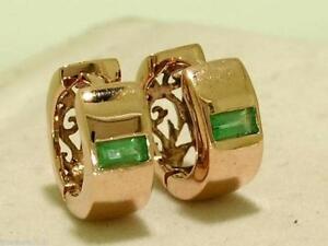 s E005- Genuine 9K 9ct ROSE Gold NATURAL Emerald HUGGIE Hoop Earrings Filigree