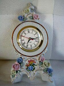 Porzellan Kaminuhr Tisch Uhr Blumen Rose Gold