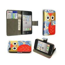 CASE FOR APPLE IPHONE 4 IPHONE 4S MULTICOLOR OWL AND FLOWER DESIGN WALLET COVER
