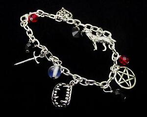 Vampire Charm Bracelet - Inspired by Vampire Diaries - Wolf / Pentagram Charms,