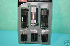 SET OF THREE 9 LED ALUMINUM FLASHLIGHTS WITH BATTERIES