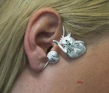 JoliKo Ohrklemme Ohrschmuck Silber Pl Ear cuff Katze Miezi Miau Cat LINKS