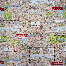 Tissu coton plan de ville plan map Londres deco sac hauptsatdt