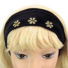 """Hair Band Black Velour Fabric Gold Embroidered Flowers 2 ¾"""" Headband Wrap_144-60"""