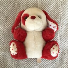 vintage small dandee valentines plush puppy dog red & white heart feet & ears