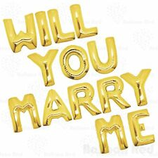 "40"" Will You Marry Me Foil Letter Balloon Set Flat In Gold (WILLYOUMARRYME-GOLD)"