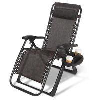 Zero Gravity Lounge Chair Heavy Duty Garden Recliner W/Free Holder Handle Pillow