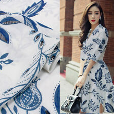 China design floral print 100% silk Crepe DE chine fabric blue flower,SCDC763
