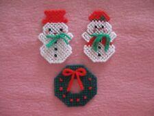 Mr. & Mrs. Snowman Wreath Christmas Lapel Pins Plastic Canvas Handmade
