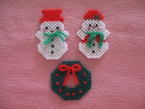 Mr. & Mrs. Snowman Wreath Christmas Lapel Pins Plastic Canvas Handmade